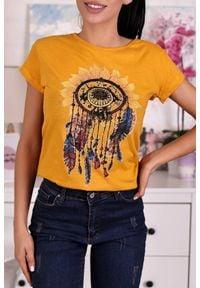 IVET - T-shirt damski SEREDA MUSTARD. Kolor: żółty. Wzór: nadruk #1