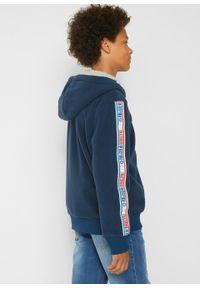 Niebieska bluza bonprix z nadrukiem, street, z kapturem