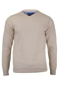 Beżowy sweter Adriano Guinari klasyczny, do pracy, z dekoltem w serek