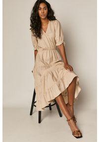 Sukienka medicine gładkie, z krótkim rękawem, casualowa, midi