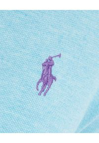 Ralph Lauren - RALPH LAUREN - Niebieska koszulka polo Mesh Custom Slim Fit. Typ kołnierza: polo. Kolor: niebieski. Materiał: mesh. Długość: długie. Wzór: haft #6