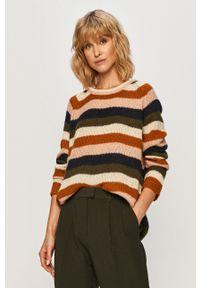 Vila - Sweter. Kolor: brązowy. Długość rękawa: raglanowy rękaw