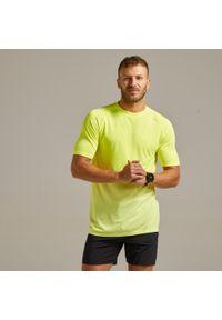 KIPRUN - Koszulka do biegania męska Kiprun Care. Kolor: żółty. Materiał: poliamid, materiał, poliester. Wzór: ze splotem
