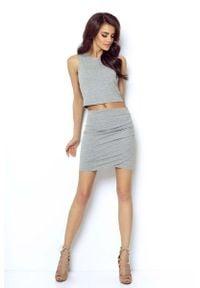 IVON - Szara Mini Spódnica Kopertowa. Kolor: szary. Materiał: elastan, bawełna