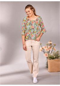 Spodnie ze stretchem dzwony bonprix beżowo-szary. Kolor: szary