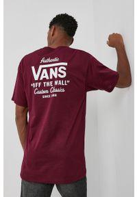 Vans - T-shirt bawełniany. Okazja: na co dzień. Kolor: czerwony. Materiał: bawełna. Wzór: nadruk. Styl: casual