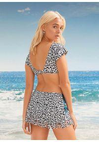 Biustonosz bikini bonprix czarno-biały z nadrukiem. Kolor: czarny. Wzór: nadruk