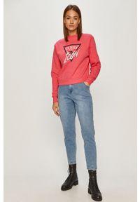 Różowa bluza Guess na co dzień, bez kaptura