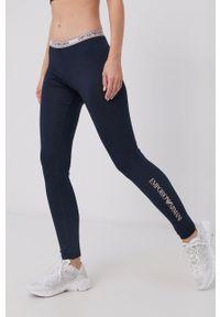 Emporio Armani Underwear - Legginsy. Kolor: niebieski. Materiał: dzianina, materiał. Wzór: nadruk