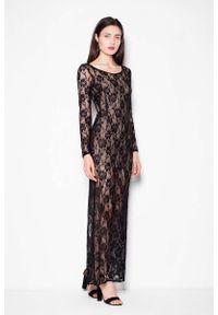 Czarna sukienka wieczorowa Venaton maxi, w koronkowe wzory