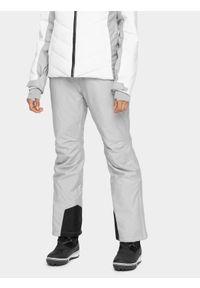 4f - Spodnie narciarskie damskie. Kolor: szary. Materiał: poliester. Sezon: zima. Sport: narciarstwo