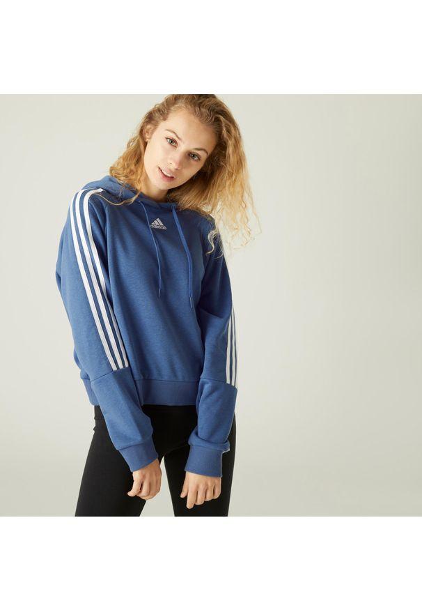 Adidas - Bluza krótka fitness. Typ kołnierza: kaptur. Materiał: bawełna, wiskoza, poliester. Długość: krótkie. Sport: fitness