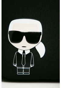 Czarna torba podróżna Karl Lagerfeld biznesowa, z aplikacjami