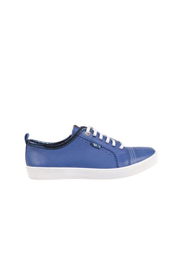 Trampki Bayla-100 445S Niebieski L, Skóra naturalna. Kolor: niebieski. Materiał: skóra
