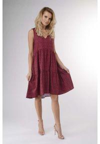 Czerwona sukienka wizytowa Nommo z falbankami, na lato, w kwiaty