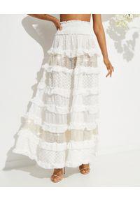 CHIO - Haftowana spódnica maxi z cekinami. Stan: podwyższony. Kolor: biały. Wzór: haft