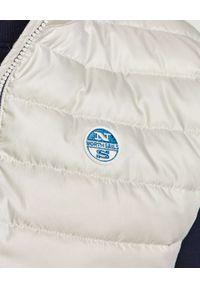 North Sails - NORTH SAILS - Jasnoszara kamizelka puchowa z logo. Kolor: szary. Materiał: puch. Długość rękawa: bez rękawów. Wzór: aplikacja