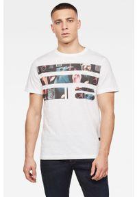 Biały t-shirt G-Star RAW na co dzień, z nadrukiem, z okrągłym kołnierzem