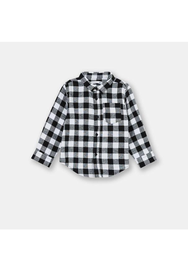 Flanelowa koszula niemowlęca w kratę - Czarny