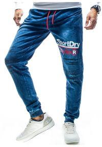 Niebieskie spodnie Recea z nadrukiem, eleganckie