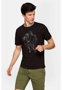 Lancerto - Koszulka Czarna Dexter. Okazja: na co dzień. Kolor: czarny. Materiał: włókno, materiał, bawełna. Wzór: aplikacja, nadruk. Styl: sportowy, klasyczny, elegancki, casual