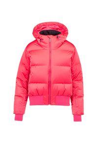 Różowa kurtka narciarska Descente na zimę, z motywem zwierzęcym