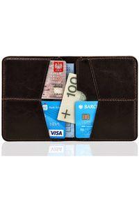 Cienki skórzany portfel męski Solier SW10 brązowy. Kolor: brązowy. Materiał: skóra