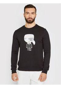 Karl Lagerfeld - KARL LAGERFELD Bluza Sweat Crewneck 705061 511951 Czarny Regular Fit. Typ kołnierza: dekolt w karo. Kolor: czarny