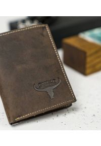 BUFFALO WILD - Skórzany portfel męski brązowy Buffalo Wild RM-07-HBW BROWN. Kolor: brązowy. Materiał: skóra