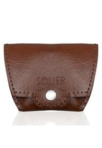 Solier - Skórzana bilonówka, portfel na monety SOLIER SA10 Brąz. Kolor: brązowy. Materiał: skóra
