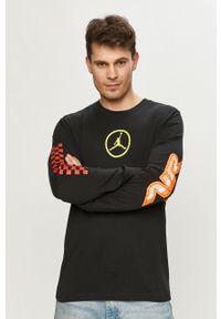 Czarna koszulka z długim rękawem Jordan z nadrukiem, na co dzień, casualowa