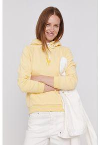 Polo Ralph Lauren - Bluza bawełniana. Okazja: na co dzień. Typ kołnierza: polo. Kolor: żółty. Materiał: bawełna. Długość rękawa: raglanowy rękaw. Wzór: aplikacja. Styl: casual