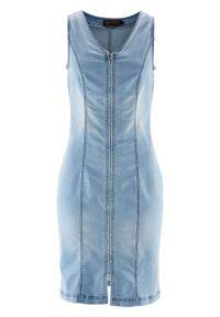 Niebieska sukienka bonprix z dekoltem w serek