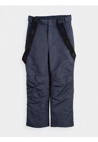 4f - Spodnie narciarskie dziewczęce (122-164). Stan: podwyższony. Kolor: niebieski. Materiał: materiał, poliester. Sezon: zima. Sport: narciarstwo