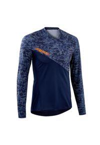 ROCKRIDER - Bluza rowerowa Rockrider MTB AM. Kolor: niebieski. Materiał: poliester, materiał, elastan. Długość rękawa: długi rękaw. Długość: długie