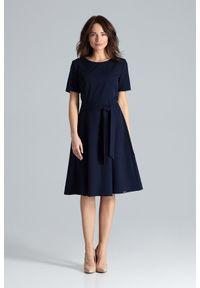 Sukienka midi, klasyczna, trapezowa, gładkie