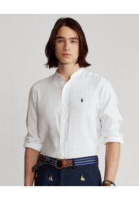 Ralph Lauren - RALPH LAUREN - Biała koszula z lnu Slim Fit. Typ kołnierza: polo. Kolor: biały. Materiał: len. Długość rękawa: długi rękaw. Długość: długie