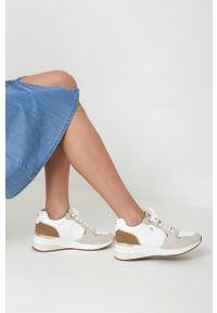 MEXX - Mexx - Buty skórzane Gena. Nosek buta: okrągły. Zapięcie: sznurówki. Kolor: biały. Materiał: skóra. Obcas: na koturnie
