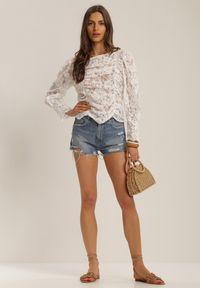 Renee - Biała Bluzka Nixusa. Kolor: biały. Materiał: jeans, koronka. Długość: długie. Wzór: kwiaty, koronka, aplikacja