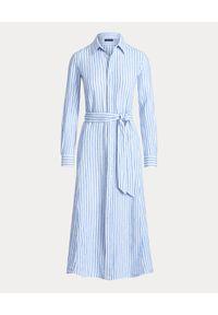 Ralph Lauren - RALPH LAUREN - Sukienka midi w paski. Typ kołnierza: polo. Kolor: biały. Materiał: len. Długość rękawa: długi rękaw. Wzór: paski. Typ sukienki: proste. Długość: midi