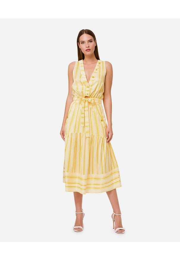Elisabetta Franchi - ELISABETTA FRANCHI - Żółta sukienka midi w paski. Okazja: na co dzień, na imprezę. Kolor: żółty. Wzór: paski. Typ sukienki: rozkloszowane. Styl: casual, wizytowy. Długość: midi