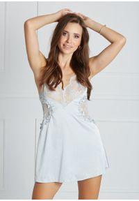 Saintmiss - Koszula nocna z koronką na biuście // Marcelle - L, Błękitny. Kolor: niebieski. Materiał: koronka. Długość: krótkie. Wzór: koronka