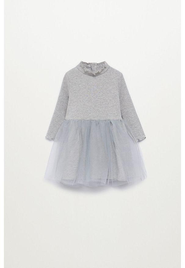 Szara sukienka Mango Kids rozkloszowana, z długim rękawem, mini, ze stójką