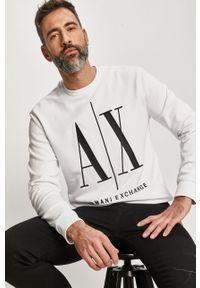 Biała bluza nierozpinana Armani Exchange bez kaptura, casualowa, na co dzień, z aplikacjami