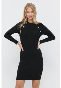 Morgan - Sukienka. Kolor: czarny. Materiał: wiskoza, dzianina, materiał. Długość rękawa: długi rękaw. Wzór: gładki. Typ sukienki: dopasowane