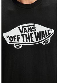 Czarny t-shirt Vans na co dzień, casualowy, z nadrukiem