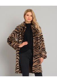 ALMAROSAFUR - Płaszcz ze wzorem zebry. Kolor: czarny. Długość rękawa: długi rękaw. Długość: długie. Wzór: motyw zwierzęcy. Styl: klasyczny