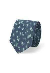 Lancerto - Krawat Granatowo-Zielony Paisley. Kolor: niebieski, zielony, wielokolorowy. Materiał: mikrofibra, materiał. Wzór: paisley. Styl: elegancki