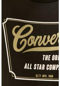 Czarny t-shirt Converse z okrągłym kołnierzem, z nadrukiem, na co dzień