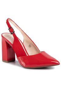 Czerwone sandały Caprice eleganckie, na obcasie, na średnim obcasie